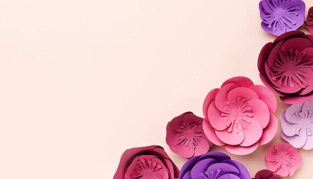 Ornamentos de papel floral de cópia-espaço