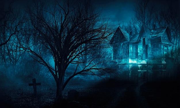 Orror halloween casa assombrada na floresta de noite assustadora