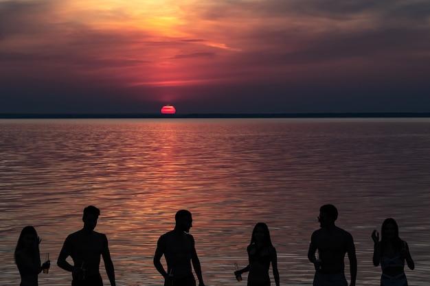 Os amigos de pé na água contra o lindo pôr do sol
