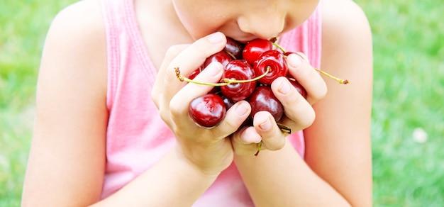 Os avós alimentam a criança com cerejas. foco seletivo. natureza
