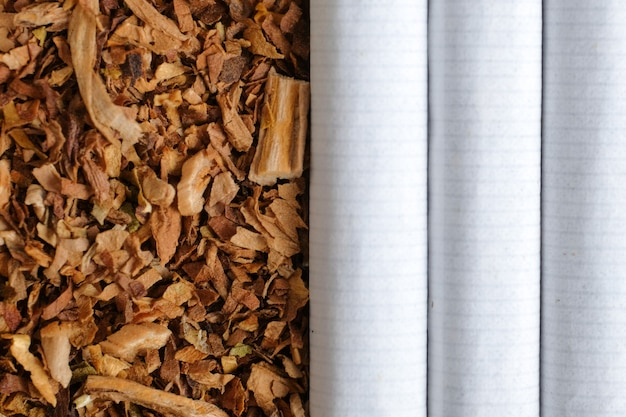 Os cigarros clássicos estão ao lado do tabaco.