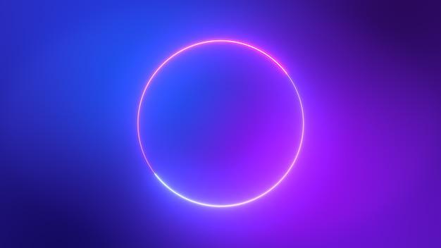 Os círculos de néon rosa e roxo azuis coloridos minimalistas abstraem o fundo.