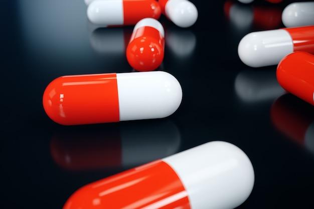 Os comprimidos da rendição 3d, comprimidos vermelho-brancos dispersaram no preto. medicamentos para tratamento. preparação farmacêutica, produto médico