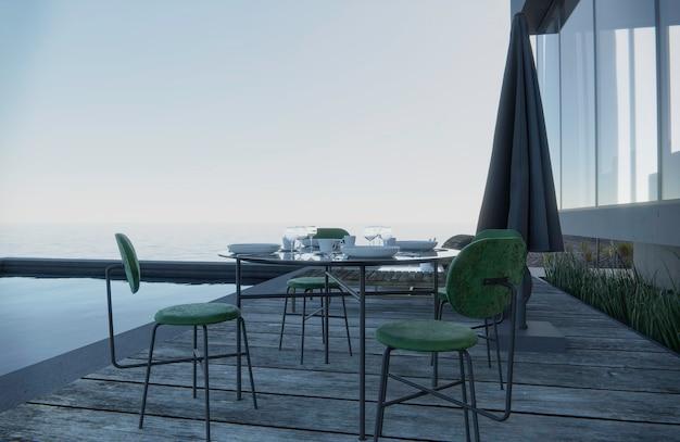 Os copos de vinho são colocados na mesa com assentos. vista para o mar do lado da piscina