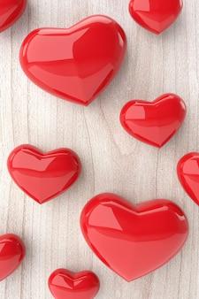 Os corações em fundo de madeira. renderização em 3d.