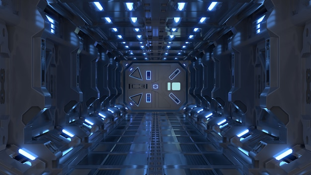 Os corredores da nave espacial da ficção científica da rendição interior da ficção científica iluminam a luz azul.