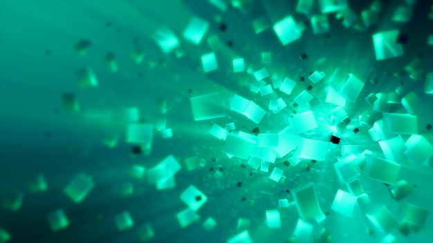 Os cubos abstratos coloridos na textura do espaço isolaram a ilustração 3d