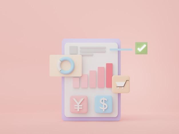 Os dados de seo 3d renderizam uma interface de usuário analítica para um gráfico de banner da web para planejamento futuro