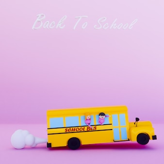 Os desenhos animados do ônibus escolar 3d rendem de volta ao conceito da escola.