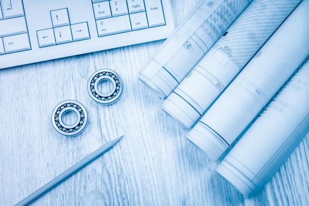 Os desenhos de construção deslizam os rolamentos de rolos de calibre na arquitetura do modelo e no conceito de construção.