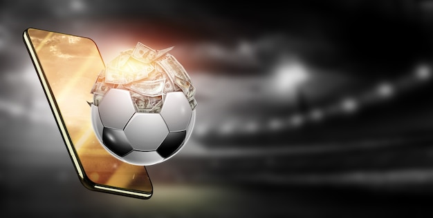 Os dólares estão dentro da bola de futebol, a bola está cheia de dinheiro. apostas desportivas, apostas de futebol, jogos de azar, casa de apostas, grande vitória.