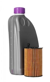 Os filtros do carro e o óleo de motor podem isolado no branco, fim acima.
