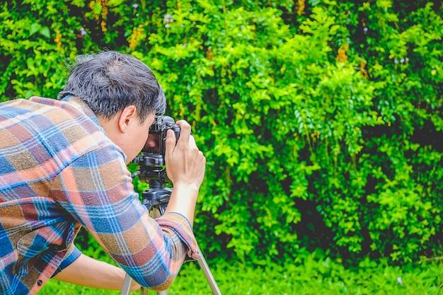 Os fotógrafos tiram fotos da natureza.
