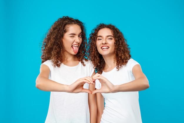 Os gêmeos de duas mulheres que mostram o coração com cedem o azul.
