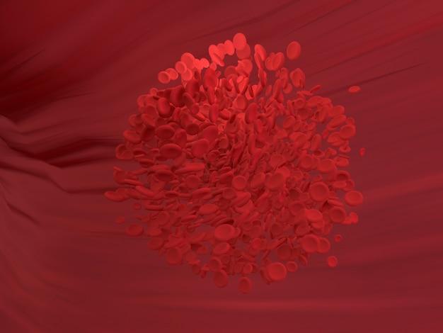 Os glóbulos vermelhos estão fluindo no vaso sanguíneo do corpo. gráfico de ciência para a educação da escola. renderização em 3d.