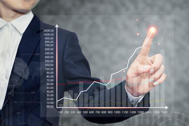 Os gráficos de negociação de ações exibem gráficos de dados financeiros em telas digitais Foto Premium