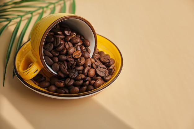Os grãos de café arábica derramam do copo amarelo exótico e brilhante na superfície bege com as sombras de uma palmeira