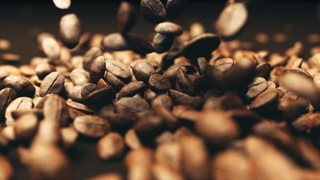 Os grãos de café são derramados sobre a mesa e batidos juntos