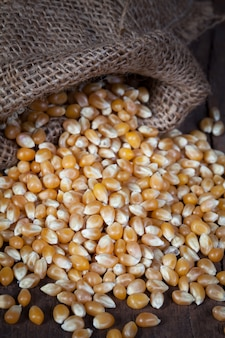 Os grãos de milho secos são derramados do saco de cânhamo sobre a mesa de madeira.