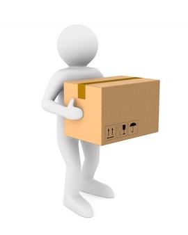 Os homens carregam uma caixa de carga. ilustração 3d isolada