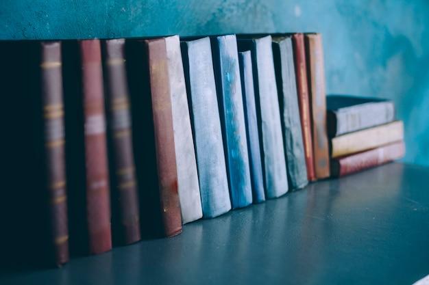 Os livros estão em uma prateleira
