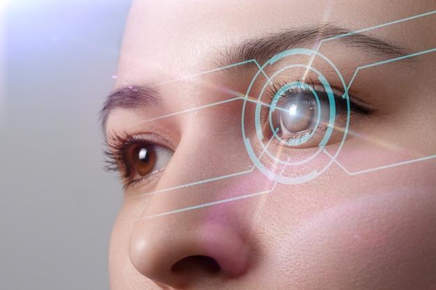 Os olhos da jovem estão em close. o conceito da nova tecnologia é o reconhecimento da íris.