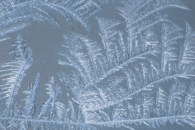 Os padrões únicos de gelo no vidro da janela