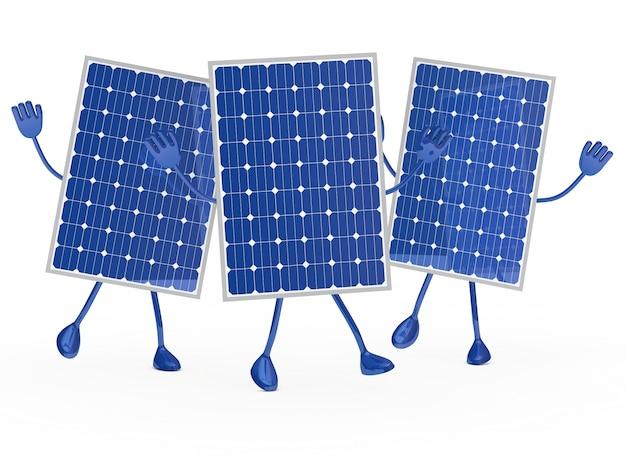 Os painéis solares salto