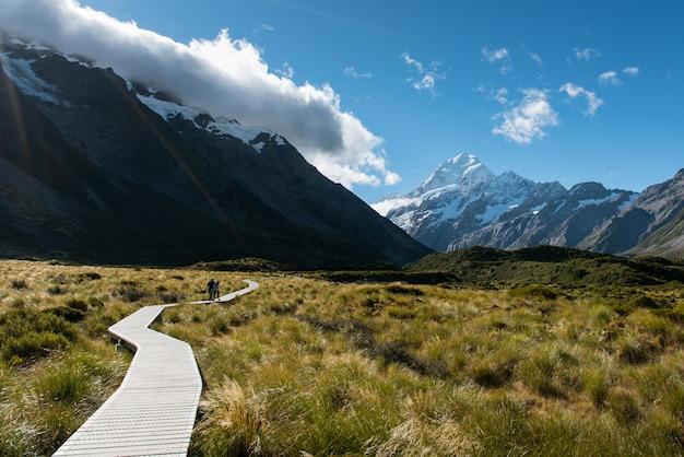 Os pares andam através do campo de grama na passagem direta ao pico da montanha do gelo