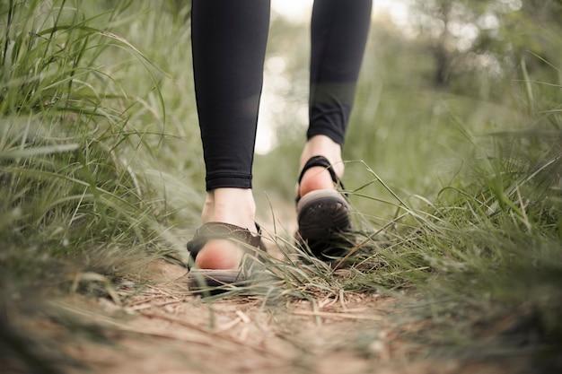 Os pés da mulher na estrada de terra gramínea