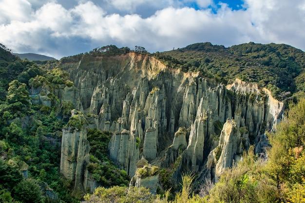 Os pináculos de putangirua são uma formação geológica e um dos melhores exemplos de erosão de terras áridas na nova zelândia.