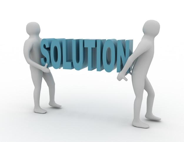 Os povos 3d brancos carregam a palavra vermelha da solução. conceito de sucesso empresarial