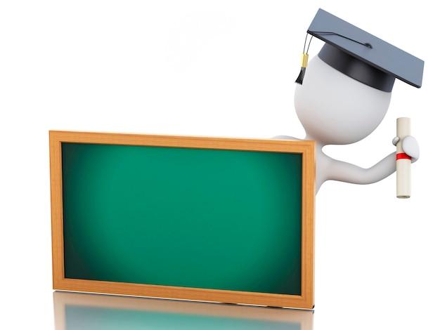 Os povos 3d brancos graduam-se com diploma, tampão da graduação e quadro-negro.