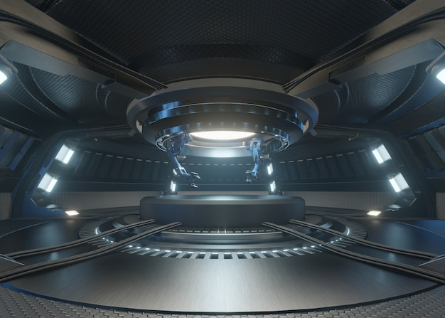 Os quartos do futuro com o pódio e tem um braço mecânico