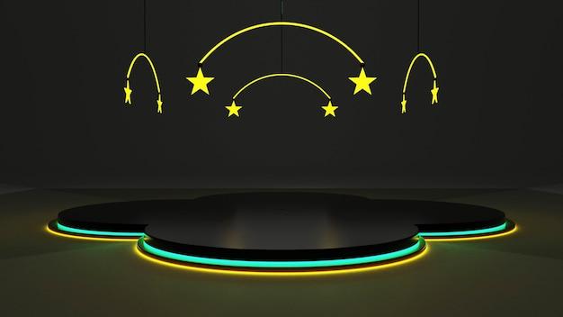 Os quartos escuros dão um toque moderno com vidro para criar dimensão. renderização 3d de luzes de néon e estrelas verde-amarelo.