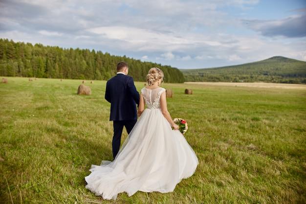 Os recém-casados andam e relaxam no campo