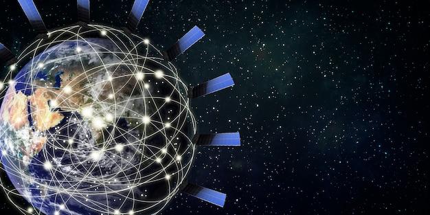 Os satélites da internet orbitam o conceito de comunicação da tecnologia de satélite da terra