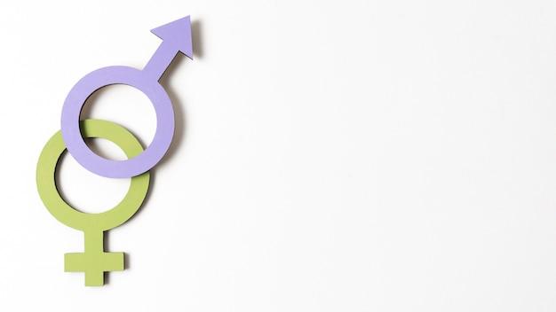 Os símbolos de gênero feminino e masculino copiam o espaço