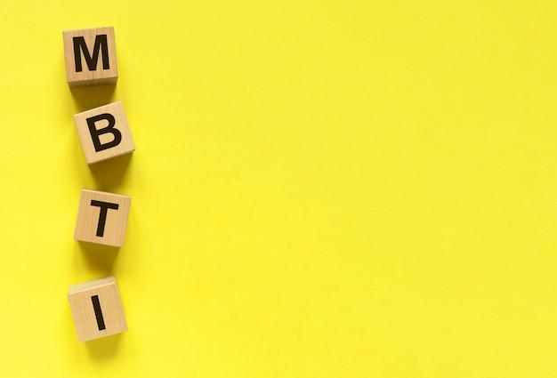 Os tipos mbti testam o texto em um banner amarelo com espaço de cópia para o texto