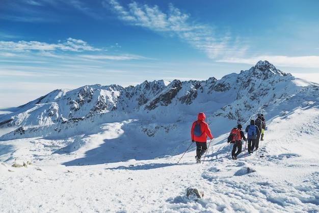 Os viajantes do grupo vão para a grande caminhada nas montanhas de inverno. landscepe
