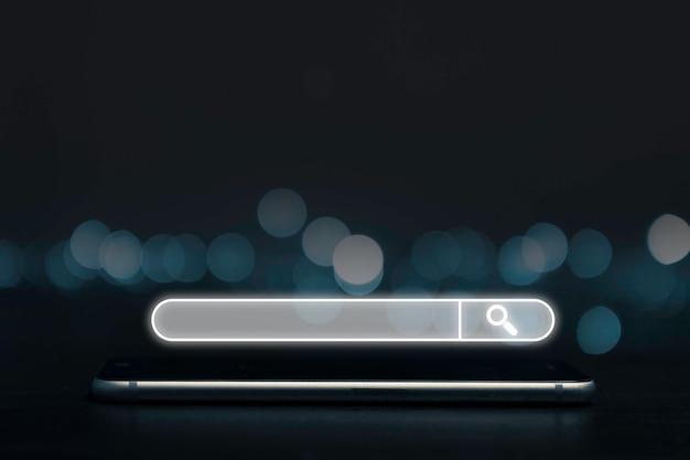 Otimização de mecanismo de pesquisa ou conceito de seo, caixa de pesquisa e ícone no smartphone.