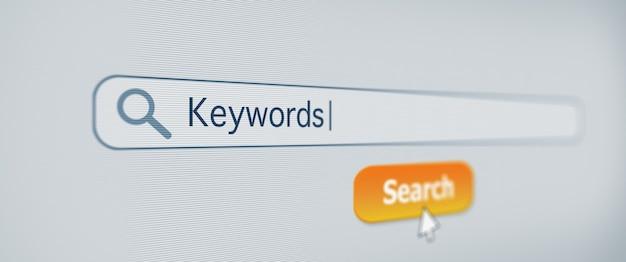 Otimização de mecanismos de pesquisa em uma tela de computador com palavras-chave digitadas conceito de tecnologia de site