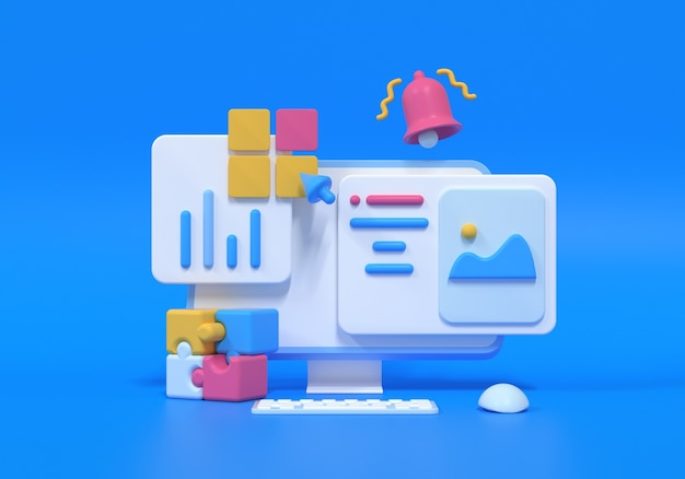 Otimização de seo 3d, análise da web e conceito de marketing de seo. ilustração 3d render
