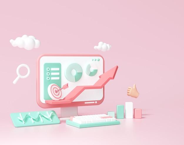 Otimização de seo 3d, análise da web e conceito de mídia social de marketing de seo. ilustração 3d render