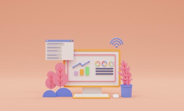 Otimização de seo 3d e conceito de marketing de seo