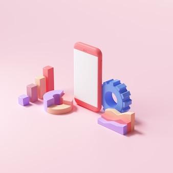 Otimização de seo 3d, negociação de ações, análise de dados, análise da web e conceito de marketing de seo. ilustração 3d render
