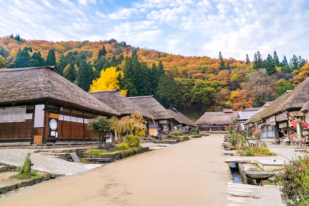 Ouchujuku village pôr do sol fukushima japão