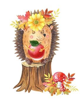 Ouriço-cacheiro aquarela com maçã vermelha em um toco de árvore ilustração em aquarela de outono para bebê
