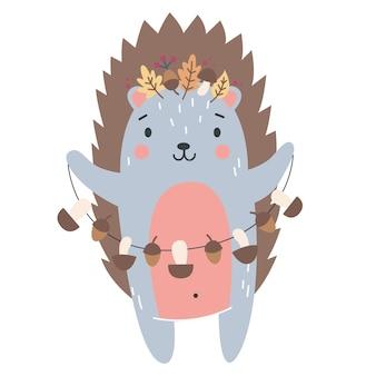 Ouriço fofo para ilustração infantil de outono