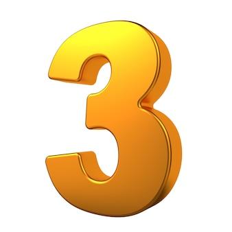 Ouro 3d dígito 3 isolado no fundo branco.